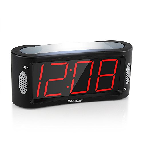 Led sveglia digitale, reacher orologio sveglia da comodino con luce notturna, funzione snooze, gamma completa dimmer di luminosità, 4,9 pollici grande display a cifre rosse, alimentazione elettrica, nero