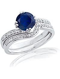 Silver Dew 925 Pure Silver White Gold Plated CZ Diamond Blue Sapphire Engagement Wedding Ring For Women's