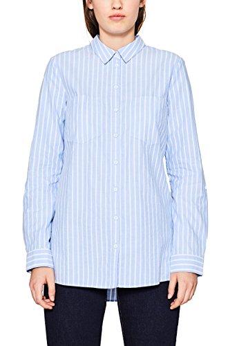 edc by ESPRIT Damen Bluse 107CC1F004 Blau (Light Blue 440), Small (Gestreiftes Blau Oxford-hemd)