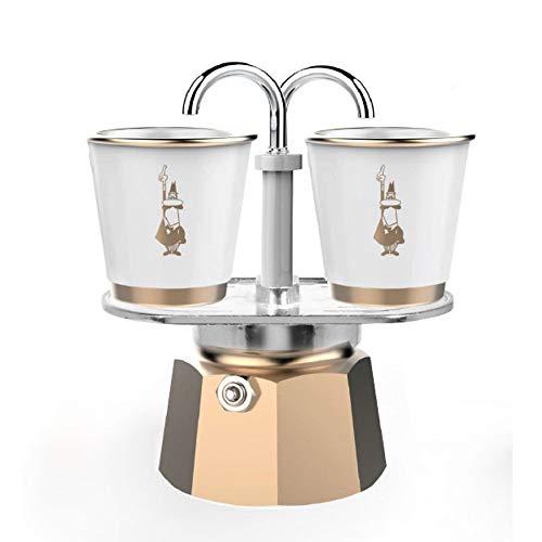 BIALETTI Mini Express Gold 2 Tazze + 2 Tazzine di Porcellana con Dettagli Oro