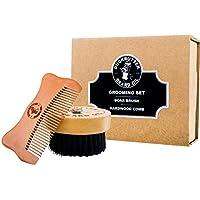 DUCKBUTTER hochwertiges Bartpflegeset mit Bartbürste und -kamm in einer Geschenkverpackung - Hergestellt aus 100 % echtem Pfirsichbaumholz und echten Wildschweinborsten - 2,25 cm Borsten und Kammzinken zur Pflege der Barthaare | Beard Grooming Set - Brush & Comb Kit