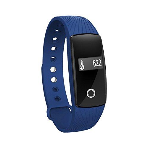 Qimaoo Pulsuhr Fitnessarmband Aktivitätstracker Uhrenarmband ID107 mit Herzfrequenzüberwachung und Blutetooth 4.0