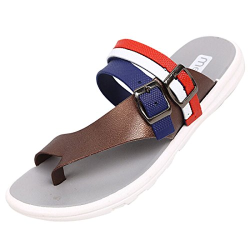 Men's Solid Soft Bottom Leather Beach Slippers as pi