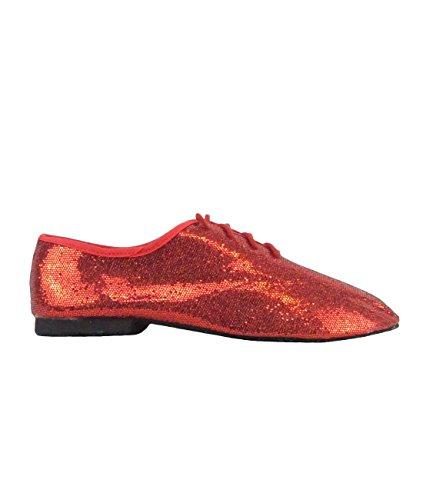 So Danca Jazzschuhe Glanz-Spinnstoff, Latein Salsa Rumba Tango Tanz Schuhe JZ79 ganze Chromledersohle Rot