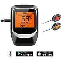 NEXGADGET Grillthermometer, Bluetooth BBQ Thermometer Haushaltsthermometer Ofenthermometer LCD Display Magnetisches Design Unterstützt IOS, Android mit 2 Sonden für Küche, Grill, Smoker, Backen usw.