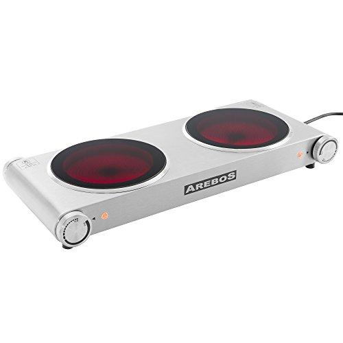 Arebos Plaque de cuisson électrique en acier inox avec...