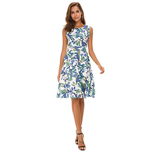 Damen Kleid Sommer Elegant Kleider Knielang Festlich Hochzeit Partykleid Rockabilly Retro Cocktailkleid Sommerkleid Glocken Hülse Blumen Drucken Elastische Taille Lose Langes Dress