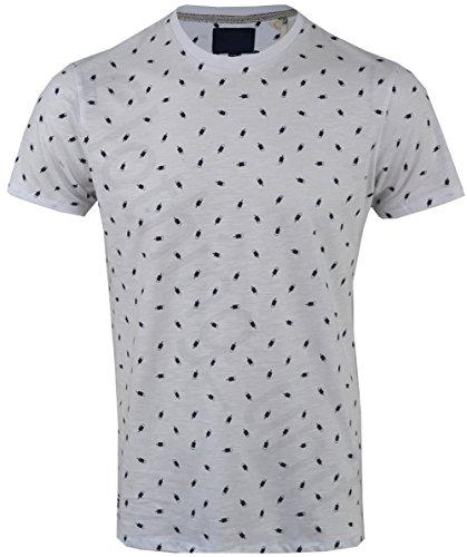 Threadbare Herren T-Shirt, Geblümt White Westport