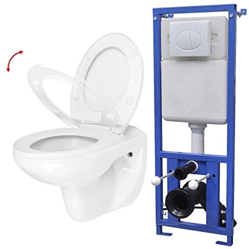 Festnight Inodoro WC Suspendido de Cerámica Blanco(Incluye Cisterna Oculta) (Tipo2)