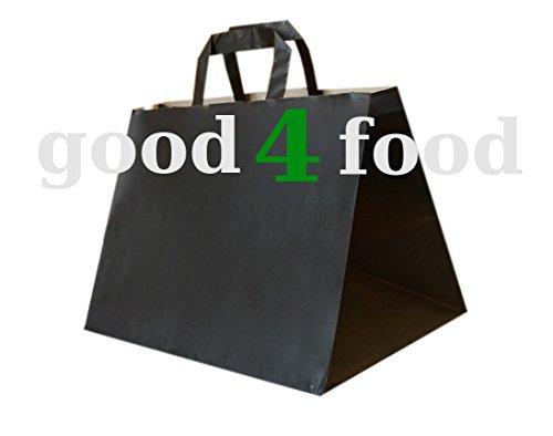 25 Stück Papiertragetaschen/ Kuchentragetaschen / Konditortasche in edlem schwarz - 32+21x25cm