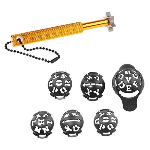 Vektenxi Golfschlägernutschärfer mit 6 Messern Nachnuten Reinigungswerkzeug 6-spitzig mit kostenlosem Ball Liner Hohe Qualität -