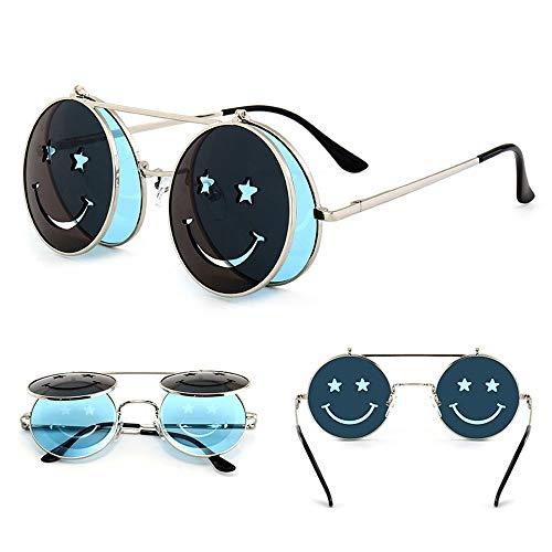 LQQ Vintage Steampunk Flip Sonnenbrillen, Unisex, Smiley-Sonnenbrillen, Beach-Party-Brillen, Sportbrillen (Farbe : B)