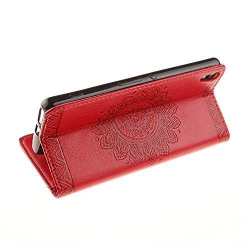 ANNN® Sony Xperia X Performance / XP Coque PU Cuir Flip Housse Étui Cover Case(Retro nationale Fleur)Portefeuille Supporter avec Fonction Stand et Fentes de Carte de Crédit + Quill stylet + Pendentif  A02