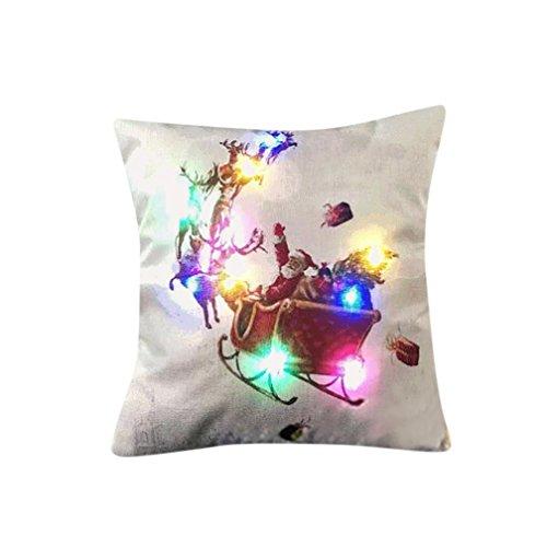 JANLY Éclairage de Noël LED coussin de couverture de décoration à la maison jeter taie d'oreiller canapé clignotant (Multicolore H)