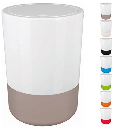 Spirella Design Kosmetikeimer Moji Bad Treteimer Schwingdeckeleimer Abfallbehälter mit Schwingdeckel 5 Liter mit Silikonboden Weiß/Taupe (Taupe Bad)