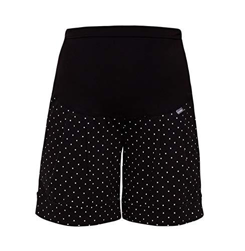 Be! Mama Umstandshose, Shorts für Schwangere, hochwertige Baumwolle, Modell: Sawyer (Marco), schwarz mit Punkte, SM