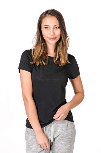 super.natural Bedrucktes Damen Kurzarm Shirt, Mit Merinowolle, W ESSENTIAL I.D TEE, Größe: L, Farbe: Schwarz (Jet Black) (Jets-shirt Für Frauen)