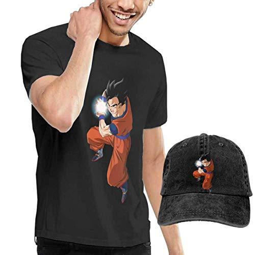 Kalinanai T-Shirts, T-Stücke, Goku-Dragon-Ball Men's Classic T-Shirt mit Washed Denim Baseball Hat Schwarz