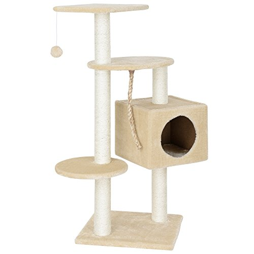[en.casa] Rascador Para Gatos Árbol Para Gatos Trepar Sisal Juguetes - 40x40x113cm - natural beige crema