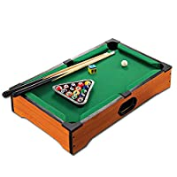 Mainstayae Kids Mini Billiards Pool Ball Set Indoor Billiard Game Table with Sticks Balls for Boys Girls