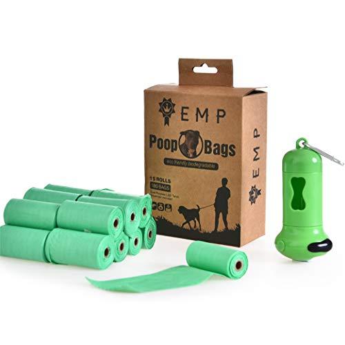 R.E.D. by EMP Hundekotbeutel, 100% umweltfreundlich, biologisch abbaubar, Doppelzweckspender und LED-Taschenlampe 180 Stück 15 Rollen, 12 Beutel pro Rolle, große Taschen, robust, dick und langlebig -