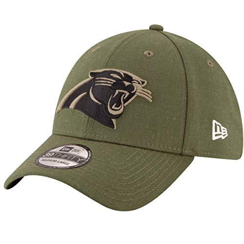 New Era Carolina Panthers 39thirty Stretch Cap On Field 2018 Salute to Service, Green, S-M (6 3/8 - 7 1/4)