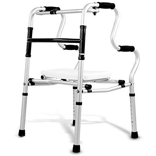 Aluminium Frame Sofa (ZXL Walker Folding Walking Frame, Leichtes Aluminium, Zusatzausstattung, Mit Sitz, 50 * 54 * 82-99cm (Farbe: Mit SitzMehrfarbig))