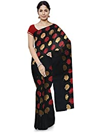 Naseem & Sons Silk Creation Chanderi Handloom Cotton Saree With Blouse Piece (Black)