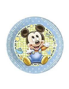 PROCOS Disney Baby Mickey Ratón-8Platos 20cm Niños Cumpleaños Azul