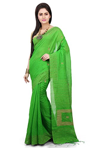 Wooden Tant Women's Silk Cotton Saree With Blouse Piece (Wbg04_Green)