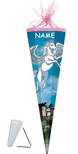 """Preisvergleich Produktbild Schultüte - """" Pegasus / Einhorn - Pferd """" - 22 cm - rund - incl. NAMEN - mit Tüllabschluß - Zuckertüte - mit / ohne Kunststoff Spitze - für Mädchen & Jungen - Einhörner - Märchen / Fabel Tier - Tiere Pegasos"""