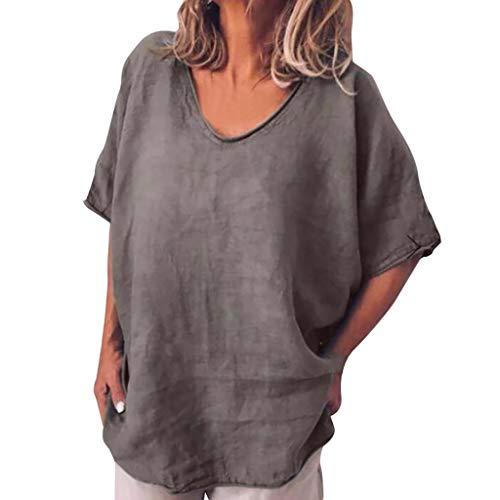 Damen Casual Tops MEIbax Damen Lässige Bluse Baumwolle Leinen Kurzarm Freizeit Tops Damenbekleidung Sale OberteileDamen Baumwolle Leinen T Shirt (Kleid Tee-länge Off-weißen)