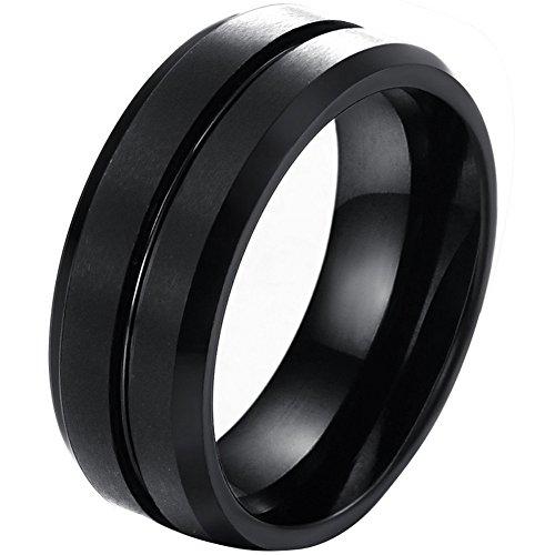 JewelryWe Schmuck 8MM Breite Wolframcarbid Herren-Ring, Schwarz Gebürstet & Rille, Partnerringe Verlobung Hochzeit Band Größe 54