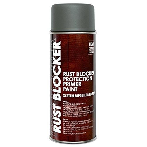 Preisvergleich Produktbild 1 Stück 400 ml Rust Blocker 4in1 Metallschutzlack Rost Stop Lack grau matt RAL 7011 18500
