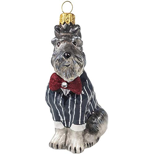 Joy Grey Schnauzer in Tuxedo Polish Glass Christmas Ornament