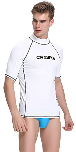 cressi rash guard man, maniche corte, maglia protettiva in speciale tessuto elastico, protezione solare uv (upf) 50+ uomo, bianco, xxl/6 (56)
