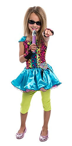 ockstar Mädchen-Kostüm Popstar Mädchen Kinder-Kostüm Sängerin Musikerin 80er Jahre Kostüm inkl. Mikrofon Größe 110 (Kinder Rockstar Kostüm)