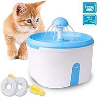 WOWGO Fuente de Agua automática para Gatos, Dispensador de Agua 2.2L con la Bomba silenciosa, el Filtro del carbón, el Cable USB Anti-mordedura y el Cepillo de Esponja para el Perro de los Gatos