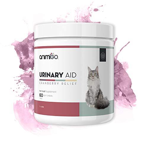 Animigo Urinary Aid per Gatti - 60 Bocconcini - Integratore al Mirtillo Rosso - Sostiene Il Benessere del Tratto Urinario e del Sistema Immunitario