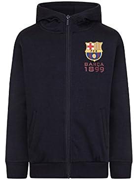 FC Barcelona - Sudadera oficial con capucha y cierre de cremallera - Para niño - Forro polar