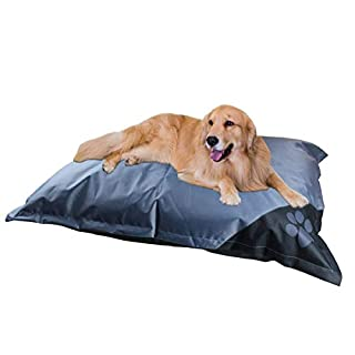 ANZ GLOBAL - Wipe Clean Waterproof Dog Bed - Durable Non-Slip Backing - Hygienic & Easy To Care - 89cm x 64cm (Grey)