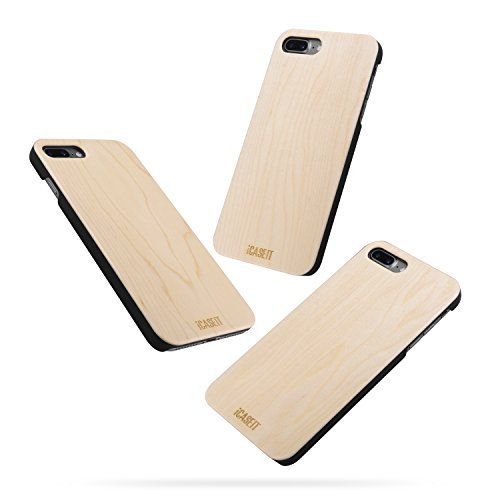 Cherry iPhone 8 / 7 PLUS Holz Hülle - iCASEIT Ultra Slim Echtem Holz Schutzhülle Hart Back Cover Bumper Etui für Apple iPhone 8 / 7 PLUS (5.5 Zoll) Handyschale - DC2209 - Cherry Maple (FB0311)