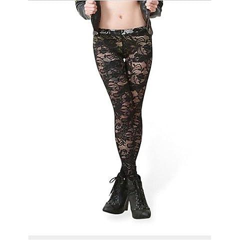 ZY/ merletto di modo delle donne skinny pants , black-xl , (Merletto Della Stampa Jeans)