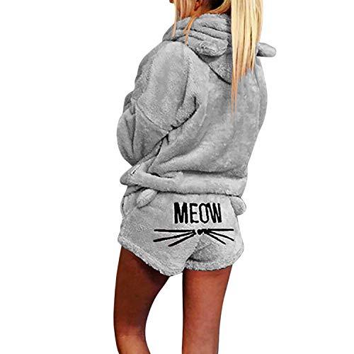 LAEMILIA Damen Schlafanzug Pullover Anzug Plüsch Warm Freizeit Küschelig Sweatshirt Ohren Kapuzen Langarm Oberteil Kurze Hose Set Zuhause Homewear