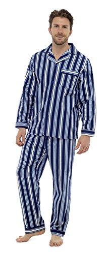 Aumsaa Herren Schlafanzug Marineblau Gestreift