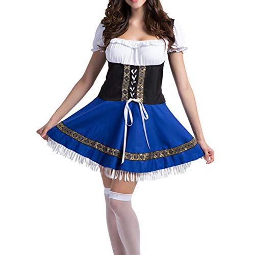 Biback Damen Kleid Set Kariertes Kleid Shirt Aufstehen Traditionelles Kostüm Retro Oktoberfest Bayerische Mode Bluse und Schürze 3 Stück Set Kleidung Strandkleid Stickerei Traditionelles Kostüm