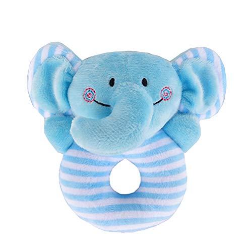 STOBOK Baby Rassel Greifling Plüsch Spielzeug Plüschtier Musikspielzeug für Kinder Kleinkinder Ringrassel (Blauer Elefant)
