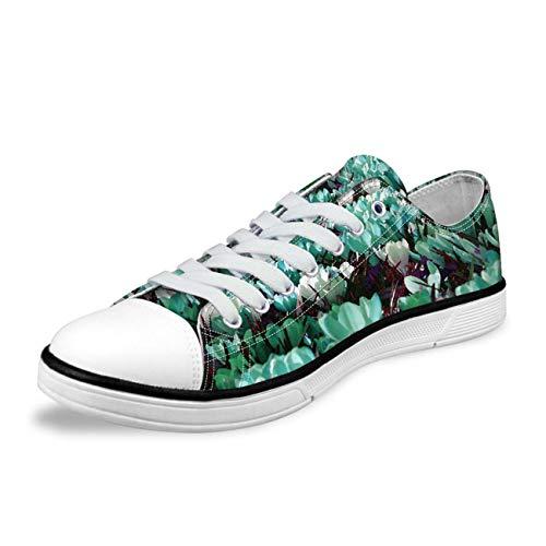 Purple Floral Design Women Summer Walking Canvas Shoes Lace Up Flat Plimsolls Green UK 5 (Dillards Schuhe Für Frauen)