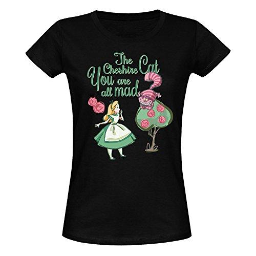 Alice im Wunderland Grinsekatze - You Are All Mad Girl-Shirt Schwarz XXL (Alice Womens T-shirt)