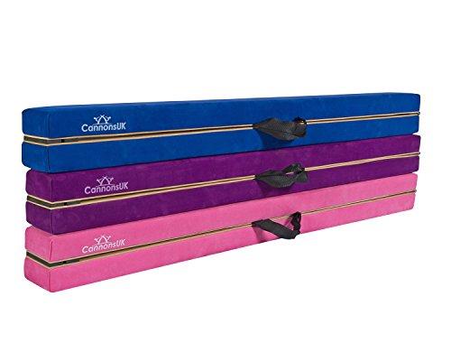 Poutre de gymnastique Cannons UK pliable de 2,4 m en suédine violette avec poignées